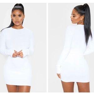 White Long Sleeve Thumb Hole Bodycon Dress